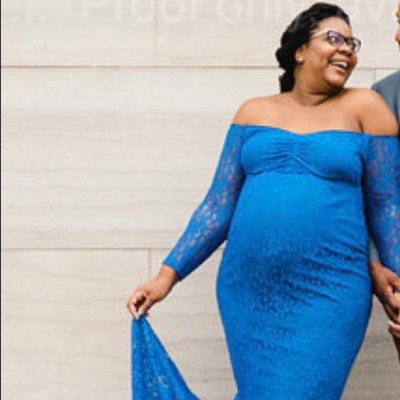 315a89242749c Dresses | Maternity Photo Shoot Blue Lace Mermaid Dress | Poshmark